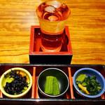 月の宴 - お通し&純米酒『山水和神』