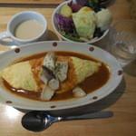 はっぱや神戸野菜ごはん - オムライス+サラダバイキング ¥1000-