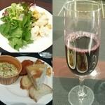 45906046 - サラダと前菜はビュッフェスタイル、ブドウジュースはサービス