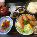 喰処 さか本 - さしみB定食(かきフライ・さしみ)¥1480♪
