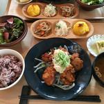 45927884 - 若鶏と竜田揚げおろし塩ポン酢定食(1080円)