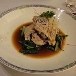 45951709 - 豚肉と野菜の湯引き醤油ソースかけ