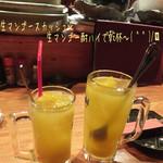 とりや - 生マンゴースカッシュ(390円)と生マンゴー酎ハイ(490円)で乾杯〜( ^ ^ )/□