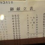 Tangoya - 御献立表(表)