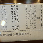 Tangoya - 御献立表(裏)