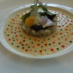 45962444 - 前菜:帆立のタルタルとカリフラワーのタンバル