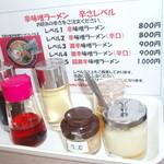 濱辰家 - 調味料、辛味噌ラーメンの辛さ