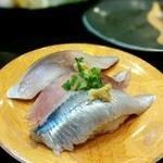 グルメ廻転寿司  まぐろ問屋 めぐみ水産 - 光もの三点盛り