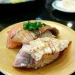 グルメ廻転寿司  まぐろ問屋 めぐみ水産 - サーモン三点盛り