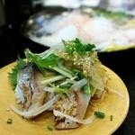 グルメ廻転寿司  まぐろ問屋 めぐみ水産 - トロ鯖のたたき,もしくは炙りトロ鯖