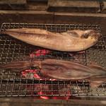 囲炉裏料理と日本酒スローフード 方舟 - ホッケとイカ