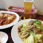MASCOT. - 豚バラキャベツのペペロンチーノ と チーズたっぷりボロネーゼ