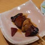 やきとり 心香 - 軍鶏のハツ、レバ、フォアグラ