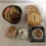 御菓子所 勉強堂 東尾道暢適庵 - 料理写真:モンブラン、杏とラムレーズンのサンド、クルミ大福、ふらふらという酒饅頭、クルミ饅頭