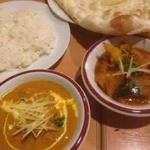 ネパール キャンドル キッチン - ポークカレー、ライス、野菜カレー、ナン