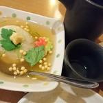 魚々市 - 蓮根饅頭と熱燗