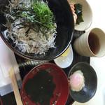 道の駅 白崎海洋公園 - しらす丼定食 しらす丼、おすまし、温泉卵、酢の物、おつけもの付き