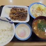 松屋 - カルビ定食630円、豚汁変更+半熟玉子追加230円
