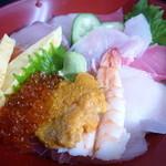 市場の食堂 金目亭 - 海鮮丼★ウニ、いくら、海老、まぐろ、きゅうり、卵焼き等♪