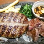 デニーズ - ビーフ&大麦牛100%ハンバーグ にんにく醤油 2015.7