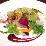 46046732 - ランチコース 2700円 のマリネした能登旬魚のCILQカルパッチョ 10種の旬菜と