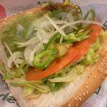 サブウェイ - アボカドベジー セサミ(焼)、野菜たっぷり、わさび醤油ドレッシング 370円