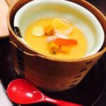 人形町今半 横浜高島屋店 - 蓋をオープン~ぷるんぷるんの美味しい茶碗蒸し