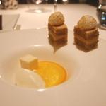ピエール・ガニェール - プラリネダッコワーズとオレンジのコンフィ クレームムースリーヌ パッションフルーツのギモーヴとヨーグルトのソルベ