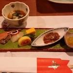 おにやまホテル - 前菜は「イカ明太、白子豆腐、数の子、きんとん、秋刀魚広島菜っ葉、二色玉子、鮭西京」です。