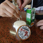 別府温泉保養ランド - 料理写真:かっちんこちんの豆腐アイス。YMYMさん&お師匠様でのスプーン投入なるも刺さらずじまい。