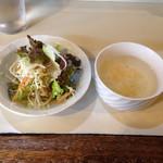 つくし - セットのサラダ、スープ