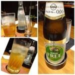 茅乃舎 - 主人は「ノンアルコールビール(550円)」私は「梅酒(750円)」を頂きます。 ソーダは別料金で「210円」ですのd、梅酒ソーダ割りとしてはお高め。