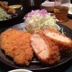 とんかつ かつ楽 - ミックスフライ定食 ロース ヒレ カニクリ