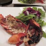 自然派 和食 ダイニング&カフェ SOLA - 魚介料理はオマール海老のグリエ、こちらもバーニャカウダと同じ様に味噌を使った和風の味付けになってました。