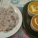 46112633 - (日替)アーモンドチキン&キーマ(雑穀米選択)