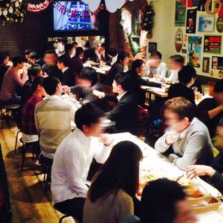 世界のビールで祝う2次会、企業宴会など貸切、大小宴会も可能!