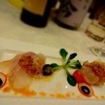 クアトロ・スタジオーニ マリエール太田 - 昆布〆した鮃と炙り帆立のマリナート カラスミをアクセントに