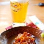 農家カフェ 風の道 - アテのヅケとビール