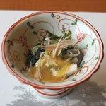 山田屋 - 河豚皮とめかぶと山芋の酢味噌和え
