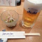 寿司廣 - 料理写真:付き出し(鱧ざく)&生ビール(7/25)