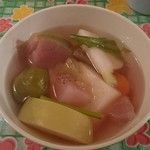 46144139 - 色々な無農薬野菜のスープ(カレー定食)