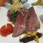 創作和料理近藤 - 味噌漬けのローストビーフ 牛蒡ソース添えアップ
