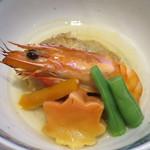 近藤 - 車海老、海老芋の餅粉揚げ、紅葉麩、京人参、隠元の銀餡かけアップ
