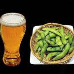 魚民 - ビールと枝豆