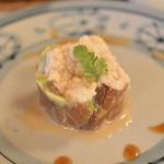 希味 - 2016/01 鮪とアボガドの湯葉餡ソース 山葵風味   昼のおまかせコース 2,000円