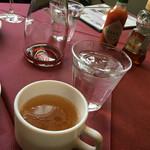 ファームイン - パスタセット スープ 赤ワインデキャンタ