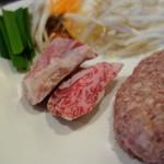ステーキ・鉄板料理和かな - ステーキハンバーグ(ランチ)調理前