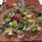 46239237 - 野菜畑と海野幸の一皿。綺麗ですな~。おっさんの頭はお花畑~♪(爆)