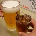 とり甚 - ☆生ビールと烏龍茶で乾杯です\(~o~)/☆