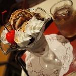 あくびカフェー - あくびパフェセット580円♪(コーヒーゼリー選択)ほうじ茶をセットに♪